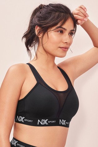 Black High Impact Wire Free Logo Sports Bra