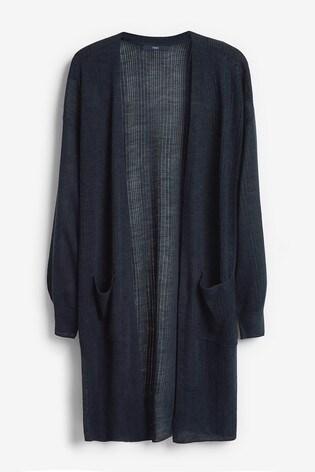 Navy Linen Blend Longline Cardigan