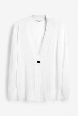 White Button Detail Cardigan