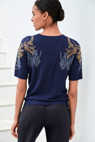 Navy Paisley Knitted T-Shirt