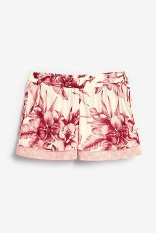 Pink Floral Button Through Short Set