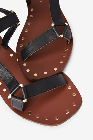 Black Triangle Detail Leather Sandals