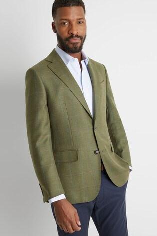 Moss 1851 Tailored Fit Green Multi Check Blazer
