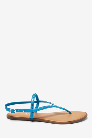 Cobalt Regular/Wide Fit Forever Comfort® Studded Toe Thong Sandals