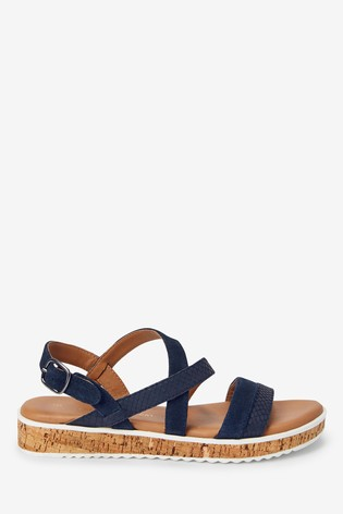 Navy Regular/Wide Fit Forever Comfort® Cork Flatform Sandals