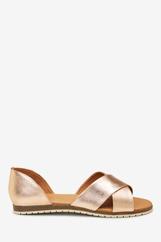 Rose Gold Cross Over Two Part Shoes