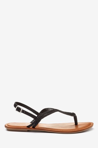 Black Regular/Wide Fit Forever Comfort® Double Plait Toe Thong Sandals