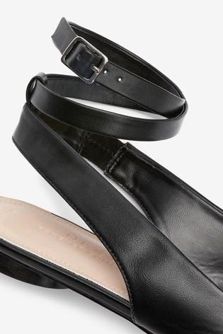 Black Ankle Wrap Square Toe Shoes
