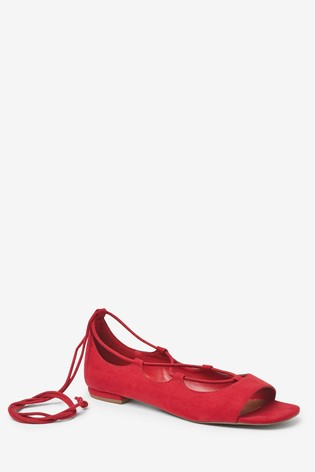 Red Ankle Wrap Peep Toe Shoes