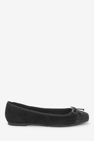 Black Toe Cap Forever Comfort® Ballerina Shoes