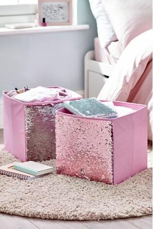Set of 2 Sequin Storage Boxes