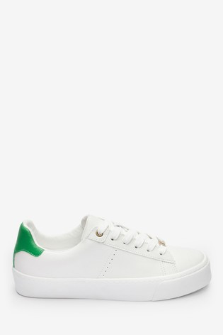 White With Green Signature Chunky Leather Lace-Up Trainers