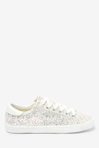 White Glitter Lace-Up Trainers