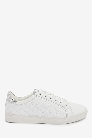 White Signature Quilted Lace-Up Trainers