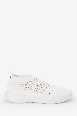 White Embellished Fly Knit Sock Trainers