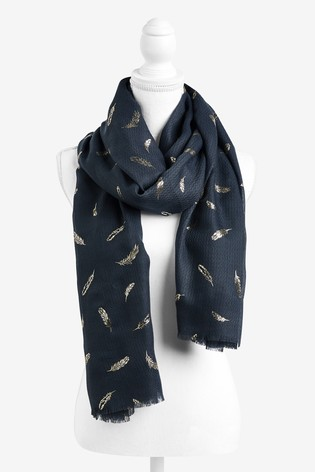 Charcoal Feather Foil Lightweight Scarf