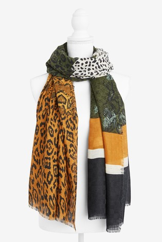 Khaki Animal Spliced Lightweight Scarf