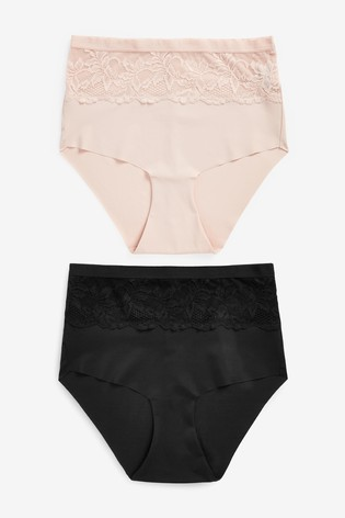 Black/Nude High Waist Lace Shaping Knickers Two Pack