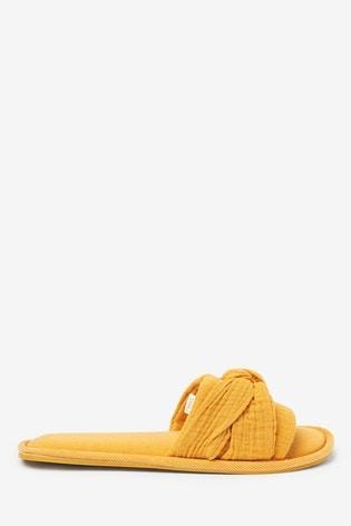 Ochre Knot Detail Slider Slippers