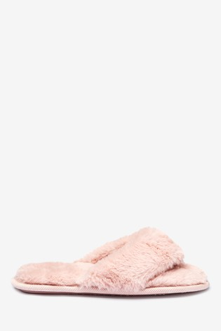 Pink Faux Fur Toe Thong Slippers