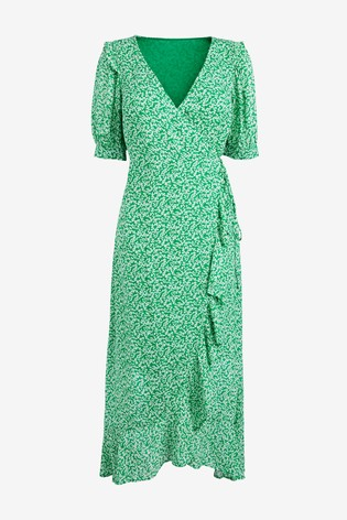 Green Floral Frill Wrap Dress