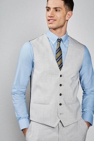 Light Grey Stretch Marl Suit: Waistcoat