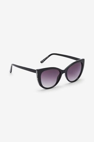 Black Cat Eye Sparkle Detail Sunglasses