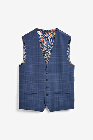 Bright Blue Check Suit: Waistcoat