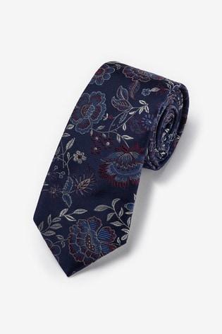 Navy/Purple Floral Signature Silk Tie