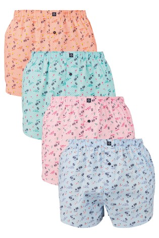 Beach Print Woven Boxers Pure Cotton Four Pack