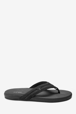 Black Cushion Flip Flops