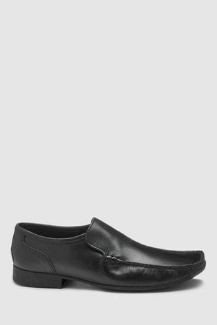 Black Leather Slip-On Shoes
