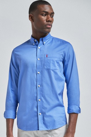 Light Blue Slim Fit Slim Fit Roll Sleeve Lightweight Twill Shirt