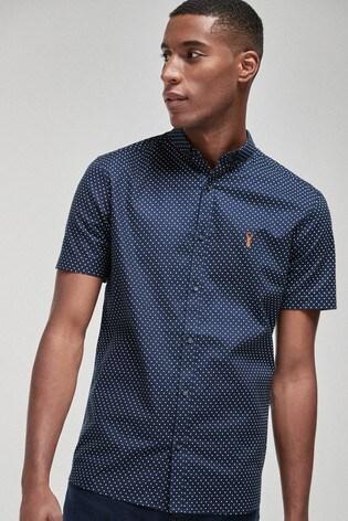 Navy Polka Dot Slim Fit Short Sleeve Stretch Oxford Shirt