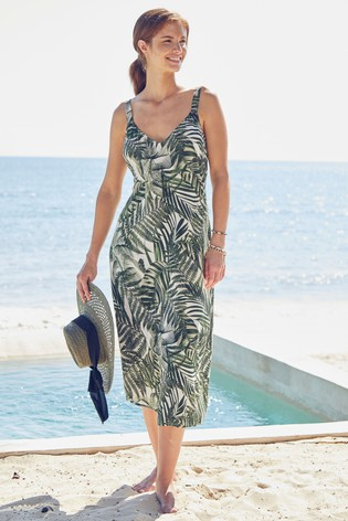 Palm Print Midi Slip Dress