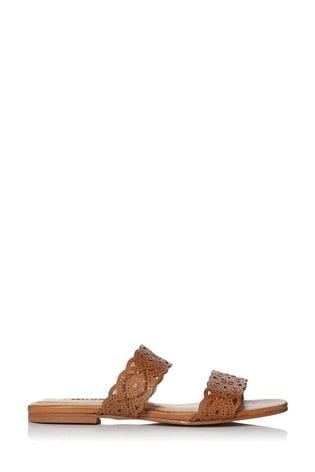 Dune London Lauretta Tan Leather Laser Cut Detail Flat Sliders
