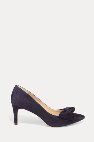 Phase Eight Blue Sim Suede Bow Court Shoes