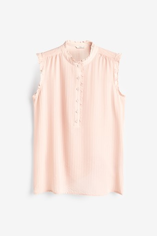 Peach Frill Sleeveless Top
