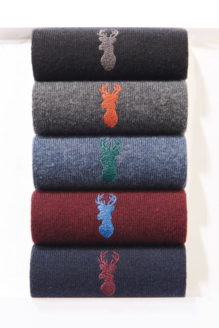 Rich Colour Stag Embroidered Socks Five Pack