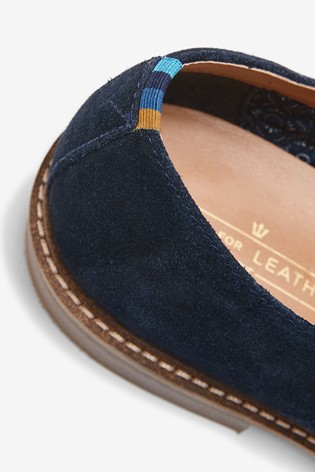 Navy Suede Derby Shoes