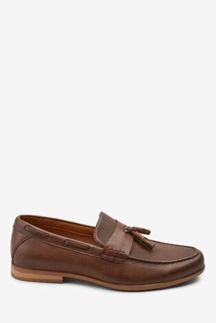 Tan Textured Tassel Loafers