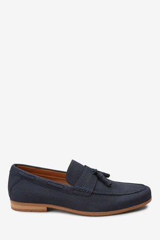 Navy Faux Suede Textured Tassel Loafers