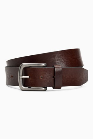 Brown Creased Effect Leather Belt