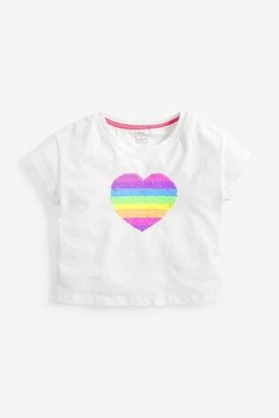 White Flippy Sequin Rainbow Heart T-Shirt (3-16yrs)