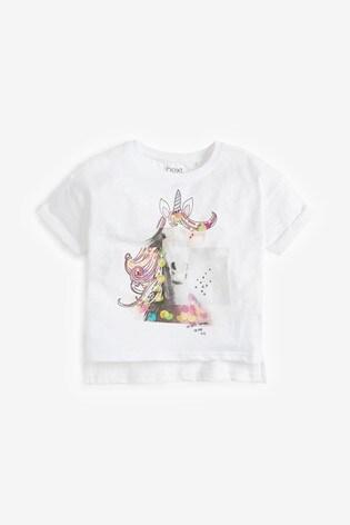 White Sequin Unicorn T-Shirt (3-16yrs)