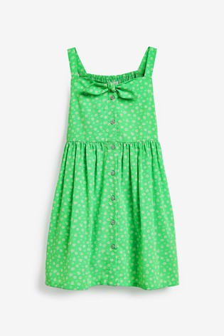 Green Ditsy Tie Detail Sundress (3-16yrs)