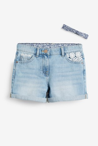 Denim Lace Trim Shorts With Headband (3-16yrs)