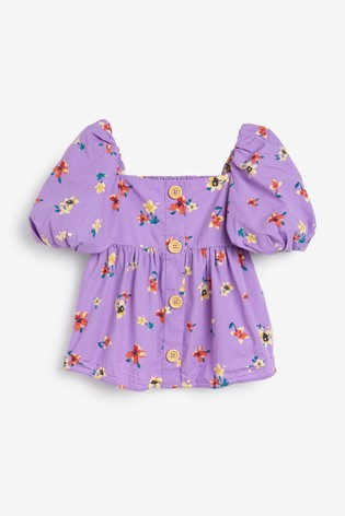 Lilac Floral Puff Sleeve Button Blouse (3-16yrs)