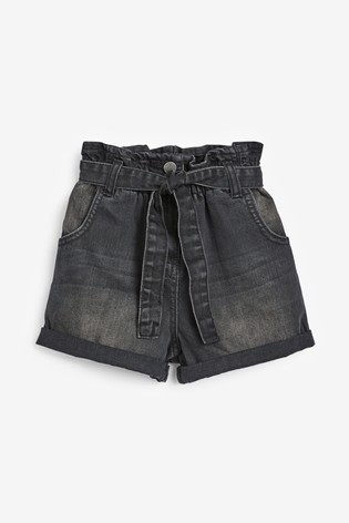 Charcoal Paperbag Waist Shorts (3-16yrs)