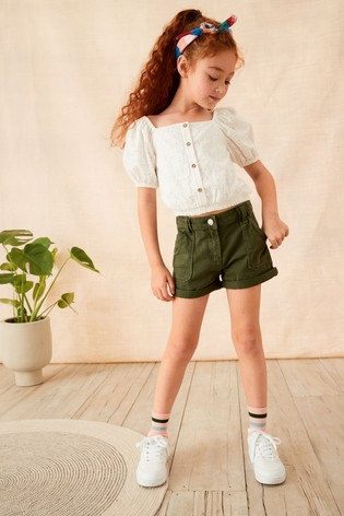 Khaki Turn-Up Denim Shorts (3-16yrs)